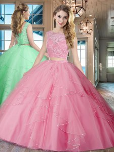 Graceful Rose Pink Two Pieces Tulle Bateau Sleeveless Lace and Ruffles With Train Lace Up Quince Ball Gowns Brush Train