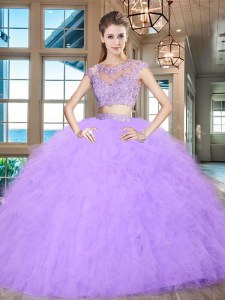 Lavender Two Pieces Tulle Scoop Cap Sleeves Beading and Appliques and Ruffles Floor Length Zipper Ball Gown Prom Dress