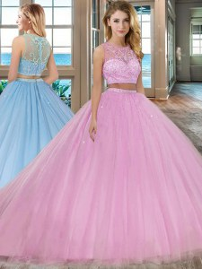 Discount Scoop Lilac Two Pieces Beading Vestidos de Quinceanera Zipper Tulle Sleeveless With Train