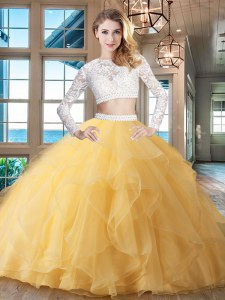Scoop Long Sleeves Beading and Lace and Ruffles Zipper Sweet 16 Dress with Gold Brush Train