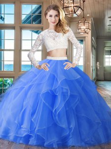 Blue Zipper Scoop Beading and Lace and Ruffles Ball Gown Prom Dress Organza Long Sleeves Brush Train