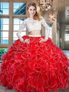 Traditional Organza Scoop Long Sleeves Zipper Beading and Lace and Ruffles Quinceanera Dress in Red