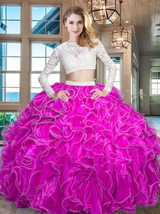 Scoop Fuchsia Zipper Ball Gown Prom Dress Beading and Lace and Ruffles Long Sleeves Floor Length