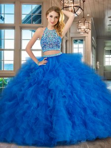 Customized Blue Two Pieces Scoop Sleeveless Tulle Floor Length Backless Beading and Ruffles Sweet 16 Quinceanera Dress