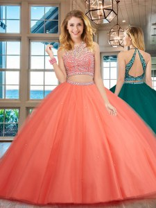 Great Scoop Sleeveless Tulle Sweet 16 Quinceanera Dress Beading Backless