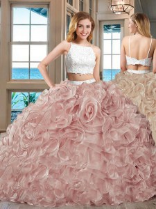 Tulle Straps Sleeveless Backless Beading and Ruffles 15th Birthday Dress in Champagne