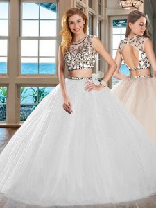 White Tulle Backless Scoop Cap Sleeves Floor Length Sweet 16 Quinceanera Dress Beading