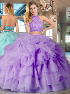 Spectacular Halter Top Backless Lavender Sleeveless Brush Train Beading and Ruffled Layers and Pick Ups Ball Gown Prom Dress