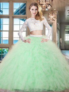 Cute Scoop Long Sleeves Zipper Floor Length Beading and Lace and Ruffles Sweet 16 Dresses