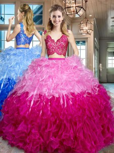 Floor Length Zipper Quinceanera Gowns Multi-color for Military Ball and Sweet 16 and Quinceanera with Lace and Ruffles