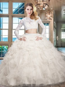 Clearance Scoop White Long Sleeves Organza Zipper Quince Ball Gowns for Military Ball and Sweet 16 and Quinceanera
