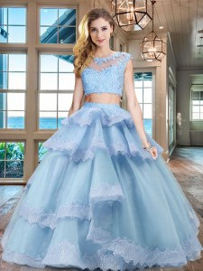 Scoop Light Blue Cap Sleeves Floor Length Beading and Lace and Appliques and Ruffled Layers Zipper 15 Quinceanera Dress