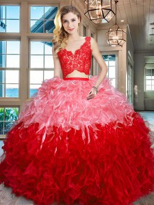 Flare V-neck Sleeveless Zipper Quinceanera Gowns Multi-color Organza