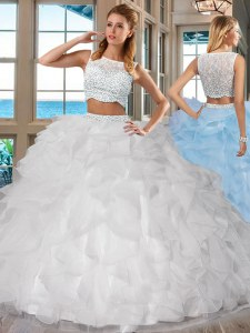 Inexpensive Sleeveless Floor Length Beading and Ruffles Side Zipper Quinceanera Gowns with White