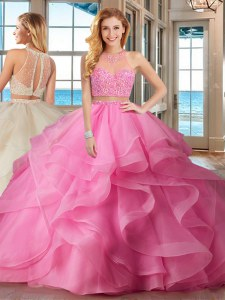 Beading and Ruffles Sweet 16 Quinceanera Dress Baby Pink Lace Up Sleeveless With Brush Train
