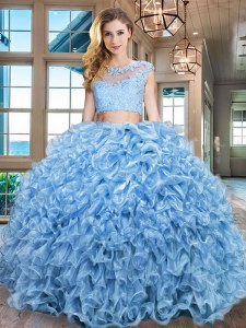 Dazzling Floor Length Baby Blue Sweet 16 Quinceanera Dress Scoop Cap Sleeves Zipper