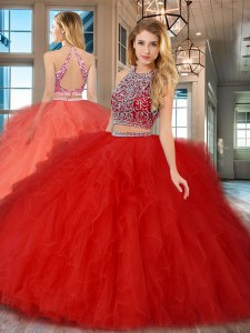 Scoop Backless Floor Length Red Quinceanera Dresses Tulle Sleeveless Beading and Ruffles