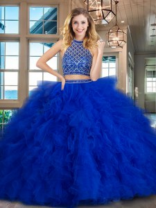 Sophisticated Royal Blue Quinceanera Dress Halter Top Sleeveless Brush Train Backless