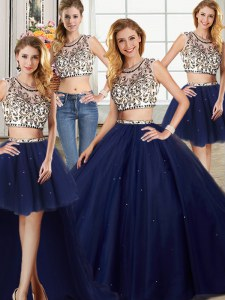 Fabulous Four Piece Scoop Navy Blue Tulle Backless Quinceanera Dresses Cap Sleeves With Brush Train Beading