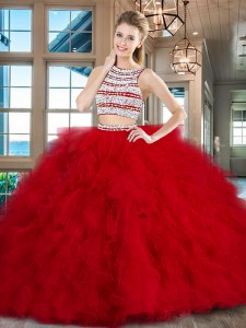Backless Scoop Sleeveless Quinceanera Dress With Brush Train Beading and Ruffles Red Tulle
