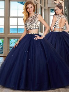 Superior Navy Blue Two Pieces Scoop Cap Sleeves Tulle With Brush Train Backless Beading Quinceanera Gowns