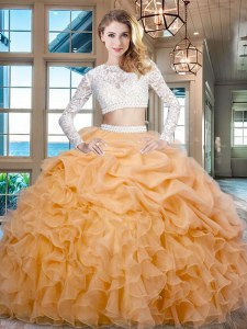 Gold Scoop Zipper Beading and Lace and Ruffles 15th Birthday Dress Long Sleeves