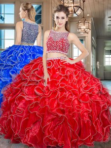 Ideal Sleeveless Beading and Ruffles Side Zipper Sweet 16 Dresses