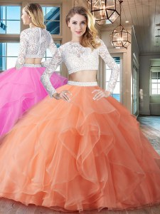 Organza Scoop Long Sleeves Brush Train Zipper Beading and Lace and Ruffles 15 Quinceanera Dress in Orange