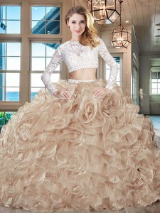 On Sale Scoop Champagne Two Pieces Beading and Lace and Ruffles Vestidos de Quinceanera Zipper Organza Long Sleeves