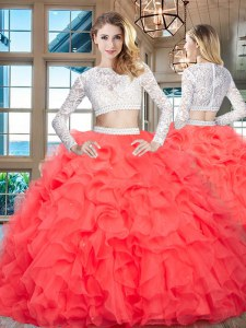 Fashionable Scoop Long Sleeves Floor Length Zipper Quinceanera Dress Red for Military Ball and Sweet 16 and Quinceanera with Beading and Lace and Ruffles