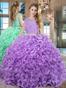 Custom Design Floor Length Lavender Quinceanera Gown Bateau Sleeveless Lace Up