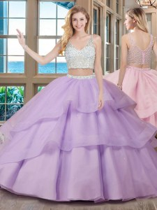 Lavender Two Pieces V-neck Sleeveless Organza With Brush Train Zipper Beading Sweet 16 Quinceanera Dress