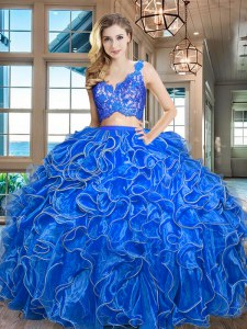 Modest Blue Quinceanera Dress Military Ball and Sweet 16 and Quinceanera and For with Lace and Ruffles V-neck Sleeveless Zipper