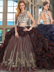 Affordable Scoop Pick Ups With Train Two Pieces Cap Sleeves Burgundy Quinceanera Gowns Brush Train Backless
