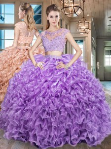 Scoop Floor Length Two Pieces Cap Sleeves Purple Ball Gown Prom Dress Zipper