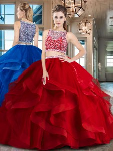 Customized Red Tulle Side Zipper Bateau Sleeveless Floor Length Quince Ball Gowns Beading and Ruffles