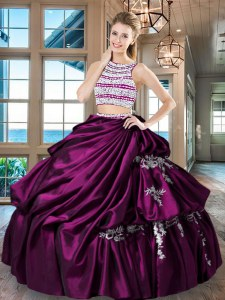 Custom Designed Scoop Beading and Appliques and Pick Ups 15 Quinceanera Dress Fuchsia Backless Sleeveless Floor Length
