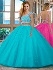 Traditional Aqua Blue Tulle Backless Scoop Cap Sleeves Floor Length Quinceanera Gowns Beading and Ruffles