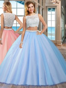 Blue Side Zipper Sweet 16 Dresses Beading Sleeveless Floor Length