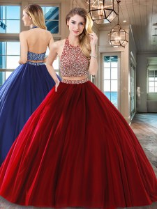 Hot Sale Halter Top Backless Floor Length Wine Red Ball Gown Prom Dress Tulle Sleeveless Beading