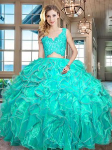 V-neck Sleeveless Quinceanera Dresses Floor Length Lace and Ruffles Turquoise Organza