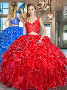 Hot Selling Red Two Pieces V-neck Sleeveless Organza Floor Length Zipper Lace and Ruffles Quince Ball Gowns