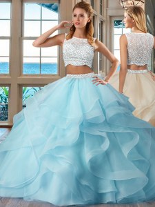 Traditional Light Blue Sleeveless Beading and Ruffles Floor Length Sweet 16 Dresses