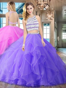 Scoop With Train Backless Quinceanera Dresses Lavender for Military Ball and Sweet 16 and Quinceanera with Beading and Ruffles Brush Train