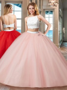 Straps Pink Sleeveless Floor Length Beading Backless Sweet 16 Quinceanera Dress