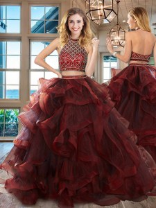 Trendy Burgundy Ball Gown Prom Dress Halter Top Sleeveless Brush Train Backless