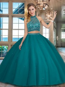 Best Selling Halter Top Teal Two Pieces Beading Sweet 16 Dresses Backless Tulle Sleeveless Floor Length