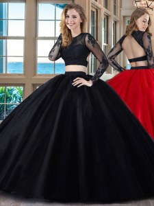 Black and Red Two Pieces Scoop Long Sleeves Tulle Floor Length Backless Appliques Sweet 16 Dress