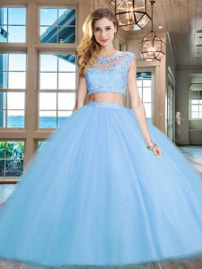 Scoop Cap Sleeves Floor Length Zipper Quinceanera Dress Light Blue for Military Ball and Sweet 16 and Quinceanera with Beading and Appliques