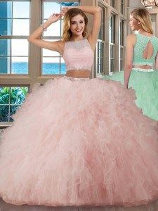 Fabulous Tulle Scoop Sleeveless Backless Beading and Ruffles Quince Ball Gowns in Pink